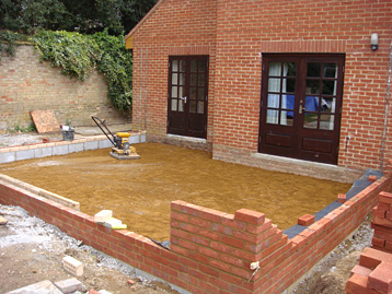 Single storey extension being built